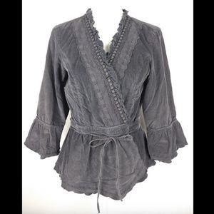 J.Jill Gray Lagenlook Soft Corduroy Jacket Blazer